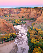 0100-1011B ~ Copyright: George H. H. Huey ~ Canyon de Chelly, autumn, with cottonwood trees. Canyon de Chelly National Monument, Arizona.