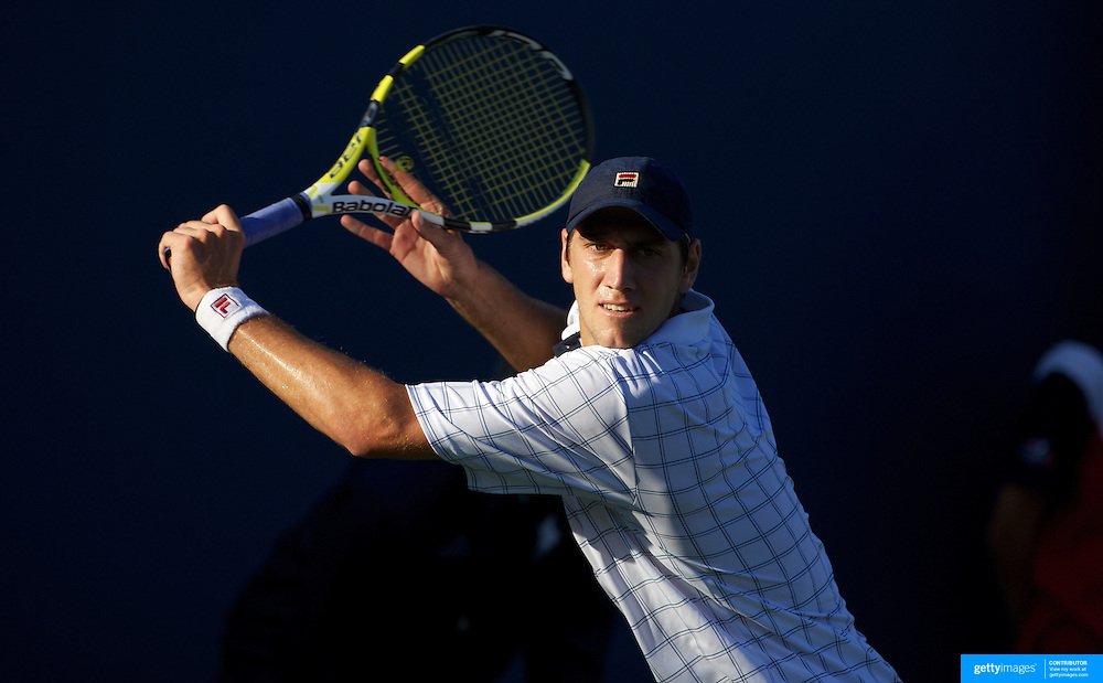 Carsten Ball, Australia, in action against Juan Pablo Brzezicki, Argentina, during the first round match match in the US Open Tennis Tournament at Flushing Meadows, New York, USA, on Tuesday, September 1, 2009. Photo Tim Clayton.