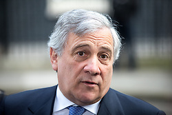 © Licensed to London News Pictures. 20/04/2017. London, UK. President of the European Parliament Antonio Tajani speaks to media in Downing Street today following a meeting with British Prime Minister Theresa May. May triggered Article 50 on 29 March 2017, formally beginning Britain's exit from the EU. Photo credit : Tom Nicholson/LNP