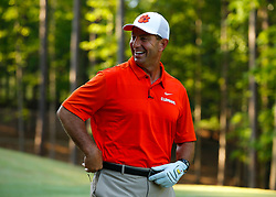 Clemson head football coach Dabo Swinney has a laugh during the Chick-fil-A Peach Bowl Challenge at the Ritz Carlton Reynolds, Lake Oconee, on Monday, April 30, 2019, in Greensboro, GA. (Paul Abell via Abell Images for Chick-fil-A Peach Bowl Challenge)