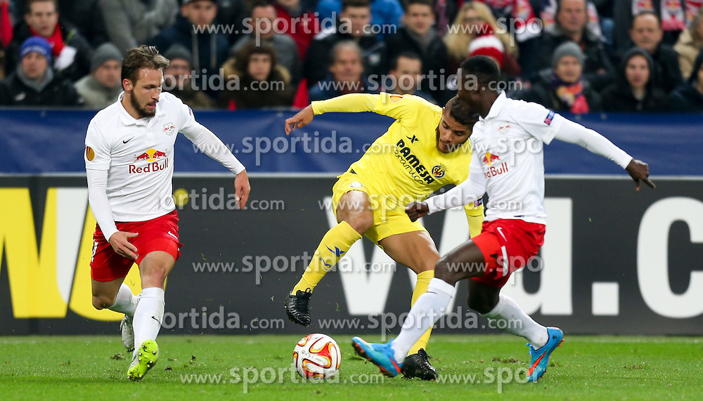 26.02.2015, Red Bull Arena, AUT, UEFA EL, FC Red Bull Salzburg vs Villareal CF, Sechzehntelfinale, Rückspiel, im Bild Andreas Ulmer, (Red Bull Salzburg), Jonathan dos Santos, (Villareal CF) und Naby Keita, (Red Bull Salzburg)// during the UEFA Europa League round of 32, 2nd leg match between FC Red Bull Salzburg and Villareal CF at the Red Bull Arena in Salzburg, Austria on 2015/02/26. EXPA Pictures © 2015, PhotoCredit EXPA/ Roland Hackl
