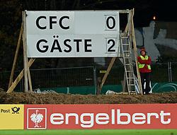 28.10.2014, Stadion an der Gellertstraße, Chemnitz, GER, DFB Pokal, Chemnitzer FC vs SV Werder Bremen, 2. Runde, im Bild die Anzeigetafel mit dem 2:0-Endstand für die Gäste // during German DFP Pokal 2nd round match between Chemnitzer FC and SV Werder Bremen at the Stadion an der Gellertstraße in Chemnitz, Germany on 2014/10/28. EXPA Pictures © 2014, PhotoCredit: EXPA/ Andreas Gumz<br /> <br /> *****ATTENTION - OUT of GER*****