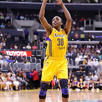 15 August 2014: Los Angeles Sparks forward Nneka Ogwumike (30) is seen at the free throw line during the Los Angeles Sparks 77-65 victory over the Seattle Storm, at the Staples Center, Los Angeles, California, USA.