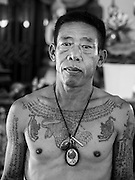 "07 MARCH 2015 - NAKHON CHAI SI, NAKHON PATHOM, THAILAND: A tattooed man at the Wat Bang Phra tattoo festival. Wat Bang Phra is the best known ""Sak Yant"" tattoo temple in Thailand. It's located in Nakhon Pathom province, about 40 miles from Bangkok. The tattoos are given with hollow stainless steel needles and are thought to possess magical powers of protection. The tattoos, which are given by Buddhist monks, are popular with soldiers, policeman and gangsters, people who generally live in harm's way. The tattoo must be activated to remain powerful and the annual Wai Khru Ceremony (tattoo festival) at the temple draws thousands of devotees who come to the temple to activate or renew the tattoos. People go into trance like states and then assume the personality of their tattoo, so people with tiger tattoos assume the personality of a tiger, people with monkey tattoos take on the personality of a monkey and so on. In recent years the tattoo festival has become popular with tourists who make the trip to Nakorn Pathom province to see a side of ""exotic"" Thailand.   PHOTO BY JACK KURTZ"