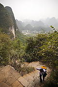 Hiking the Moon Mountain. Yangshuo, Guangxi Province, China.