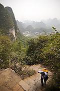 Hiking the Moon Mountain. Yangshuo, Guangxi Province, China.