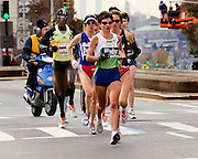 The women's lead pack at the New York City Marathon. At the six and a half mile mark. 2006