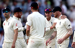 Joe Root of England gives his players a pat on the back as they leave the field at the end of day two of the first test against South Africa - Mandatory by-line: Robbie Stephenson/JMP - 07/07/2017 - CRICKET - Lords - London, United Kingdom - England v South Africa - Investec Test Series