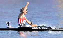 FRANZISKA WEBER (GERMANY) CELEBRATES HIS GOLD MEDAL IN WOMEN'S K1 1000 METERS FINAL A RACE DURING 2010 ICF KAYAK SPRINT WORLD CHAMPIONSHIPS ON MALTA LAKE IN POZNAN, POLAND...POLAND , POZNAN , AUGUST 21, 2010..( PHOTO BY ADAM NURKIEWICZ / MEDIASPORT ).