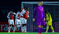 LONDON, ENGLAND - Friday, August 17, 2018: Arsenal's Eddie Nketiah celebrates scoring the second goal during the Under-23 FA Premier League 2 Division 1 match between Arsenal FC and Liverpool FC at Meadow Park. (Pic by David Rawcliffe/Propaganda)