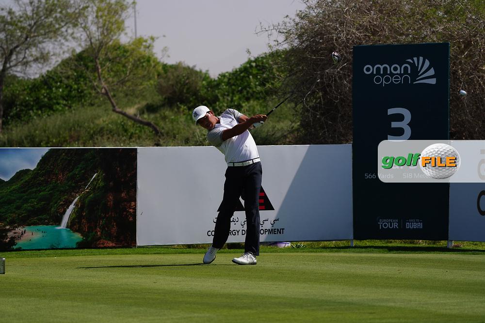 Ashun Wu (CHN) on the 3rd during Round 2 of the Oman Open 2020 at the Al Mouj Golf Club, Muscat, Oman . 28/02/2020<br /> Picture: Golffile   Thos Caffrey<br /> <br /> <br /> All photo usage must carry mandatory copyright credit (© Golffile   Thos Caffrey)