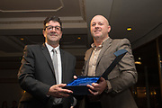 09/02/2017 - Richard Kilcullen of former Dundee FC main shirt sponsors Kilmac presents Cammy Fraser with his Legends Award at Dundee FC Hall of fame dinner at the Invercarse Hotel, Dundee  Picture by David Young -