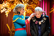 AMSTERDAM - In the Muziekgebouw , Queen Máxima presents the Prince Bernhard Culture Fund Prize 2018 to conductor and composer Reinbert de Leeuw. copyrught robin utrecht