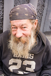 Portrait of a homeless man in Naples; Italy,