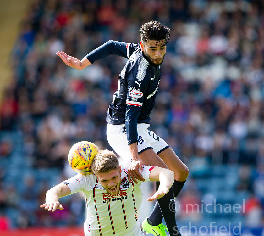 Dundee's Faissai El Bakhtaoui over Ross County's Marcus Fraser. Dundee 1 v 2 Ross County, Scottish Premiership game played 5/8/2017 at Dundee's home ground Dens Park.