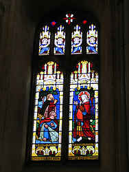 Stained glass window, Peterborough Cathedral, Peterborough, England