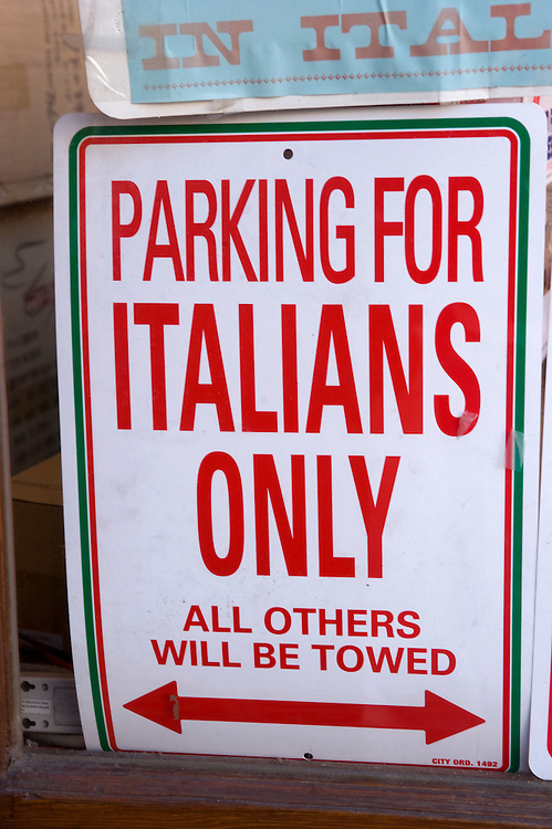 Little Italy Manhattan New York Parking for Italians only Parken nur fuer Italiener an der Mullberry street.According to the last US census there are no first generation Italians living in Little Italy anymore. Still for New Yorkers this is as authentic as Italy gets. .