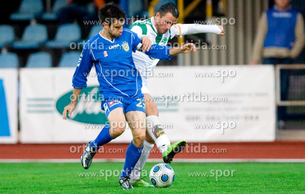 Luka Elsner of Domzale vs Sebastjan Cimirotic of Olimpija at football match of 15th Round of Slovenian Prva Liga between NK Domzale vs NK Olimpija, on October 28, 2009, in Sports park Domzale, Domzale, Slovenia.   (Photo by Vid Ponikvar / Sportida)