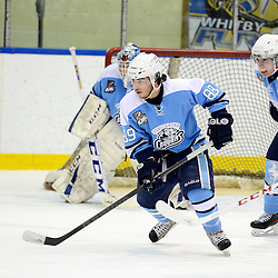 Whitby, ON - Feb - 9 :<br /> Ontario Junior Hockey League Game Action between the Whitby Fury and the Burlington Cougars. Tyler Lepore #89 of the Burlington Cougars Hockey Club skates after the puck during first period game action.<br /> (Photo by Scott Grondin / OJHL Images)