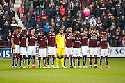 Hearts of Midlothian on Remembrance day during the Ladbrokes Scottish Premiership match between Heart of Midlothian and Hamilton Academical FC at Tynecastle Stadium, Gorgie, Scotland on 7 November 2015. Photo by Craig McAllister.