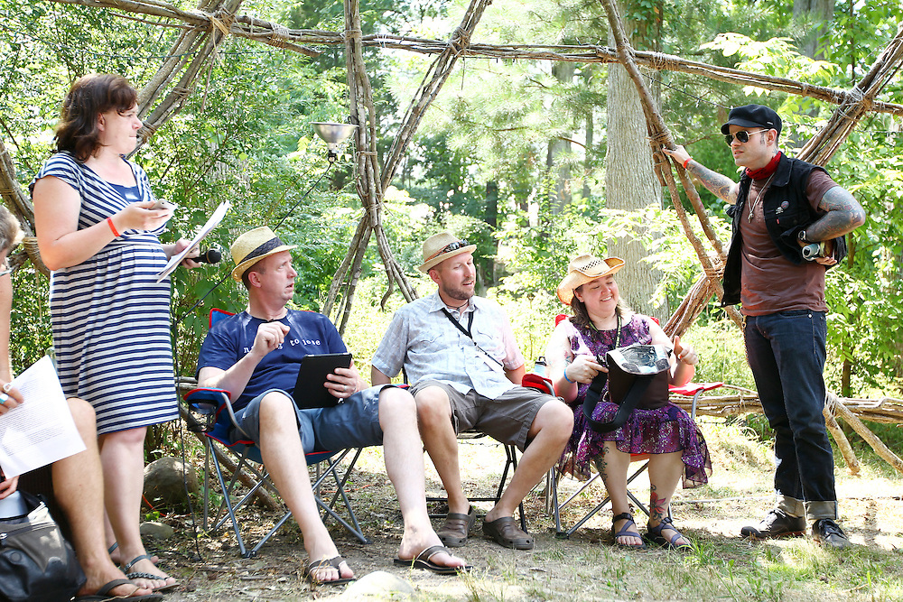 Left to right, clinical sexologist Becky Knight leads a conversation on sexuality and spirituality with Paul Fromberg, Tony Jones, Rachel Swan and Jay Bakker in the geodesic dome at the Wild Goose Festival at Shakori Hills in North Carolina June 24, 2011.  (Photo by Courtney Perry)
