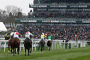 We Have A Dream leads them home to win in the The Doom Bar Anniversary 4 Y O Juvenile Hurdle Race at Aintree, Liverpool, United Kingdom on 12 April 2018. Picture by Craig Galloway.