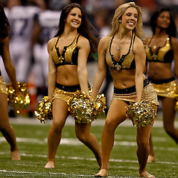 November 21, 2010; New Orleans, LA, USA; New Orleans Saints Saintsations cheerleaders perform during a game against the Seattle Seahawks at the Louisiana Superdome. Mandatory Credit: Derick E. Hingle