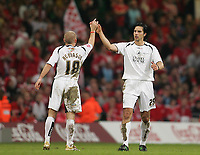 Photo: Lee Earle.<br /> Barnsley v Swansea City. Coca Cola League 1. Play off Final. 27/05/2006. Swansea's Rory Fallon (R) is congratulated by Andy Robinson after he scored their first.