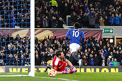 Everton's Romelu Lukakucelebrates after scoring his sides second goal , 2-1 - Photo mandatory by-line: Matt McNulty/JMP - Mobile: 07966 386802 - 26/02/2015 - SPORT - Football - Liverpool - Goodison Park - Everton v Young Boys - UEFA EUROPA LEAGUE ROUND OF 32 SECOND LEG