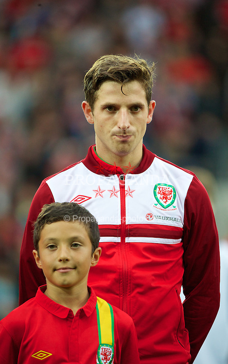 CARDIFF, WALES - Wednesday, August 14, 2013: Wales' Joe Allen before an International Friendly against Republic of Ireland at the Cardiff City Stadium. (Pic by David Rawcliffe/Propaganda)