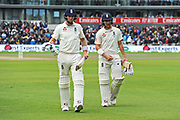 Joe Root of England and Rory Burns of England walk off for tea during the International Test Match 2019, fourth test, day three match between England and Australia at Old Trafford, Manchester, England on 6 September 2019.