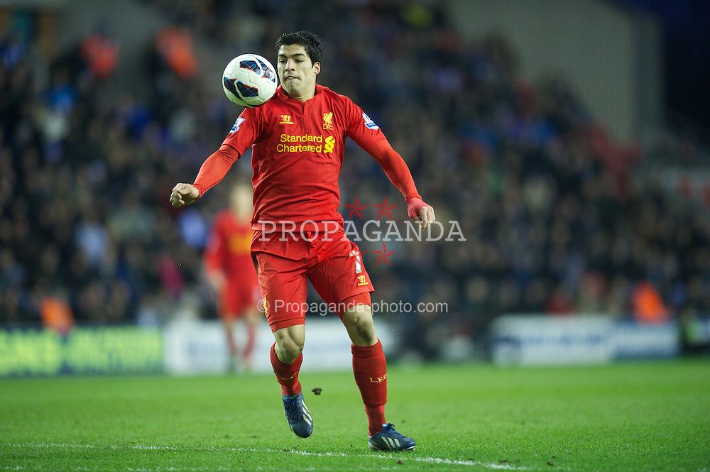 WIGAN, ENGLAND - Saturday, March 2, 2013: Liverpool's Luis Alberto Suarez Diaz in action against Wigan Athletic during the Premiership match at the DW Stadium. (Pic by David Rawcliffe/Propaganda)