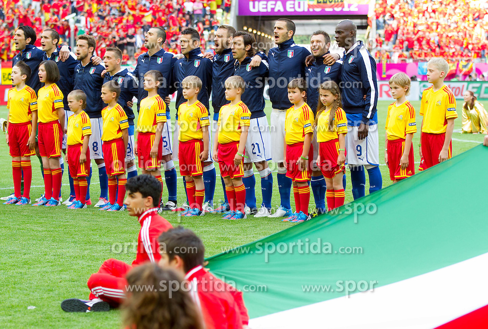 Players of Italy listening to the national anthem during the UEFA EURO 2012 group C match between Spain and Italy at The Arena Gdansk on June 10, 2012 in Gdansk, Poland.  (Photo by Vid Ponikvar / Sportida.com)