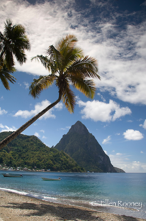 A view of the Pitons near Soufriere in St Lucia, The Windward Islands,<br /> The Caribbean