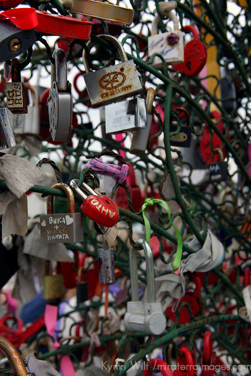 Europe, Russia, Moscow. Trees of locks line the bridge where keys are tossed into the canal as a symbol of love and commitment.