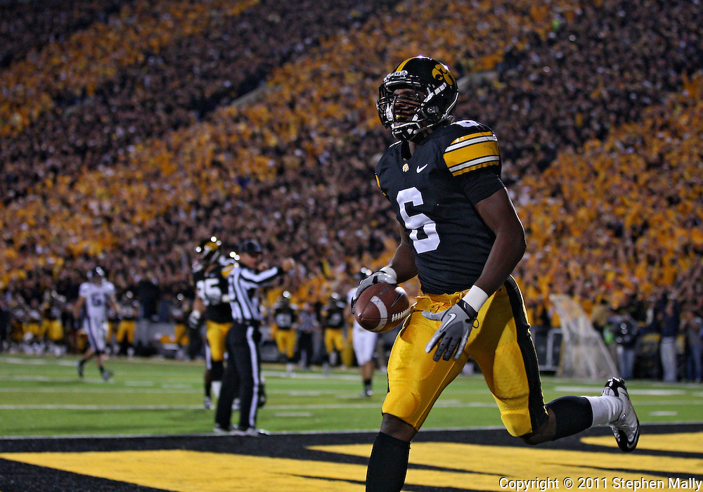 October 15, 2011: Iowa Hawkeyes wide receiver Keenan Davis (6) after a 47 yard touchdown pass during the first half of the NCAA football game between the Northwestern Wildcats and the Iowa Hawkeyes at Kinnick Stadium in Iowa City, Iowa on Saturday, October 15, 2011. Iowa defeated Northwestern 41-31.