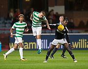 20th September 2017, Dens Park, Dundee, Scotland; Scottish League Cup Quarter-final, Dundee v Celtic; Celtic's  Leigh Griffiths and Dundee's Glen Kamara