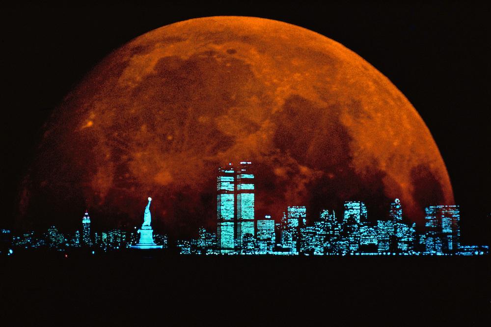Moonrise over Manahattan,  New York CIty, New York