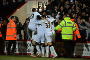 Derby celebrate Darren Bent's goal during the Sky Bet Championship match between Bournemouth and Derby County at the Goldsands Stadium, Bournemouth, England on 10 February 2015. Photo by Adam Rivers.