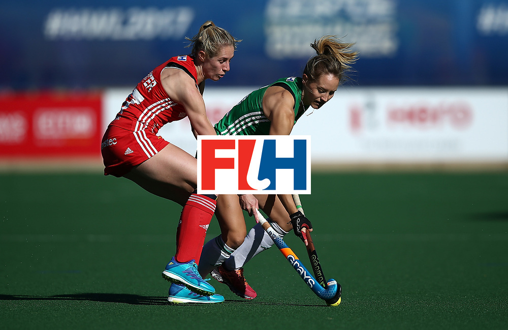 JOHANNESBURG, SOUTH AFRICA - JULY 16:  Nicola Daly of Ireland battles with Jo Hunter of England during day 5 of the FIH Hockey World League Women's Semi Finals Pool A match between England and Ireland at Wits University on July 16, 2017 in Johannesburg, South Africa.  (Photo by Jan Kruger/Getty Images for FIH)