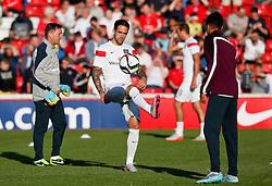 Danny Ings of England warms up - Photo mandatory by-line: Matt McNulty/JMP - Mobile: 07966 386802 - 11/06/2015 - SPORT - Football - Barnsley - Oakwell Stadium - England U21 v Belarus U21 - International Friendly U21s