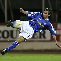 St Johnstone v Raith Rovers.13.09.05 Bells Cup<br />Kevin Moon making his senior debut for St Johnstone volley's a shot at goal<br /><br />Picture by Graeme Hart.<br />Copyright Perthshire Picture Agency<br />Tel: 01738 623350  Mobile: 07990 594431