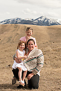Mother and daughters, foothills of Absaroka Mountains, southwest of Livingston, Montana, Tawny Waldrop and daughters