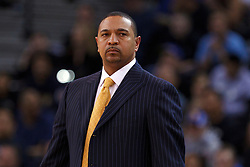 Feb 15, 2012; Oakland, CA, USA; Golden State Warriors head coach Mark Jackson on the sidelines against the Portland Trail Blazers during the first quarter at Oracle Arena. Mandatory Credit: Jason O. Watson-US PRESSWIRE