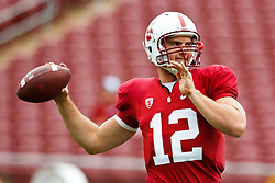 October 23, 2010; Stanford, CA, USA;  Stanford Cardinal quarterback Andrew Luck (12) warms up before the game against the Washington State Cougars at Stanford Stadium.
