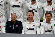 Marcus Trescothick (Centre) sitting next to Somerset director of cricket Andy Hurry (Left) during team shot with the Specsavers County Championship kit at the club media day at Somerset County Cricket Club at the Cooper Associates County Ground, Taunton, United Kingdom on 11 April 2018. Picture by Graham Hunt.