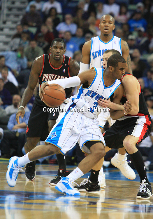 02 February 2009: New Orleans Hornets guard Chris Paul (3) drives against the Portland Trailblazers defense during a 97-89 loss by the New Orleans Hornets to the Portland Trail Blazers at the New Orleans Arena in New Orleans, LA.