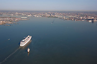 Aerial Image of cruise ship Pride and Tall Ship the Pride of Baltimore approaching Baltimore's harbor