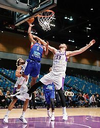 November 19, 2017 - Reno, Nevada, U.S - Long Island Nets Guard TAHJERE MCCALL (5) scores a layup while being fouled by Reno Bighorns Center GEORGIOS PAPAGIANNIS (13) during the NBA G-League Basketball game between the Reno Bighorns and the Long Island Nets at the Reno Events Center in Reno, Nevada. (Credit Image: © Jeff Mulvihill via ZUMA Wire)