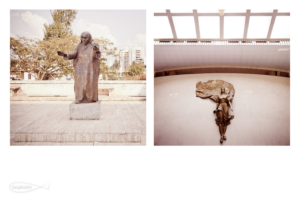 Tirana - Albanian Two symbols: a sacred statue of Blessed Mother Teresa (at Polytechnic), the other profane statue symbol of socialism of the past regime (at the Palace of Congresses).